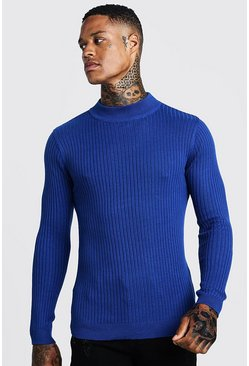 Mens Electric blue Long Sleeved Ribbed Turtle Neck