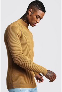 Mens Mustard Long Sleeved Ribbed Turtle Neck