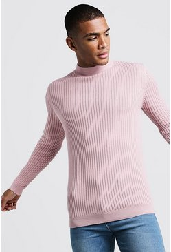 Mens Dusky pink Long Sleeved Ribbed Turtle Neck