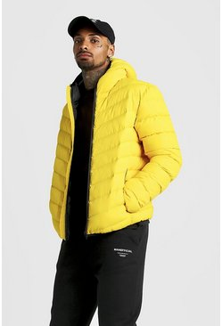 Mens Yellow Quilted Zip Through Jacket With Hood