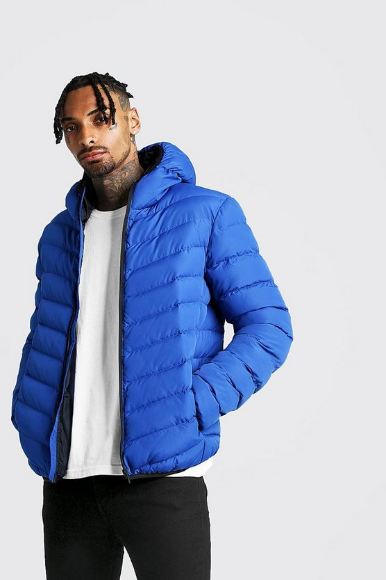 Mens Cobalt Quilted Zip Through Jacket With Hood