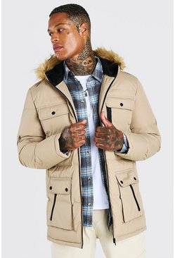 Mens Stone Multi Pocket Quilted Parka With Faux Fur Hood