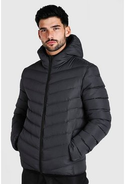 Grey Quilted Zip Through Jacket With Hood