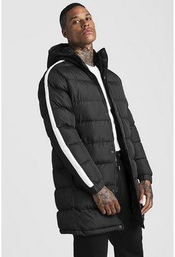 Mens Black Longline Puffer With Arm Stripe