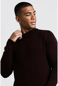Mens Chocolate Long Sleeve Turtle Neck Jumper