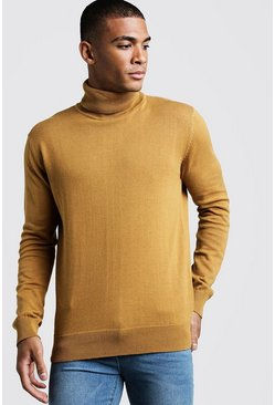 Mens Camel Long Sleeve Roll Neck Jumper