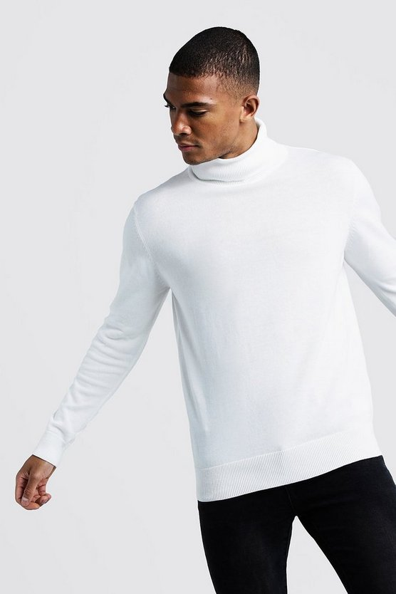 Mens Ivory Long Sleeve Roll Neck Jumper