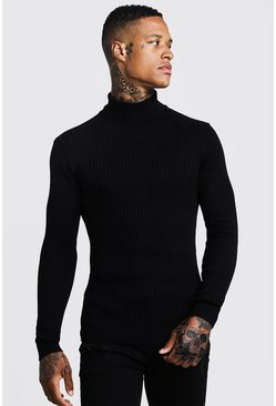 Mens Black Long Sleeved Ribbed Roll Neck Jumper