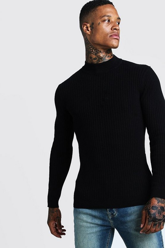 Mens Black Long Sleeve Ribbed Turtle Neck Jumper