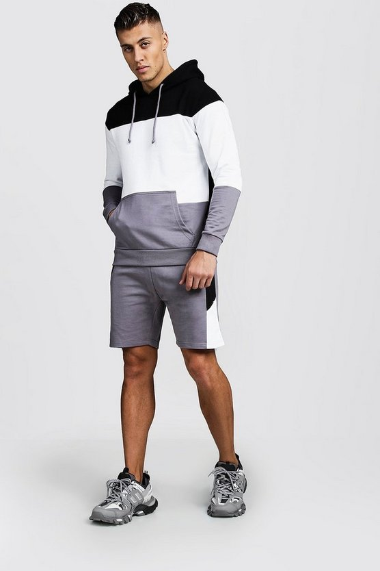 Mens Ash Colour Block Hooded Short Tracksuit