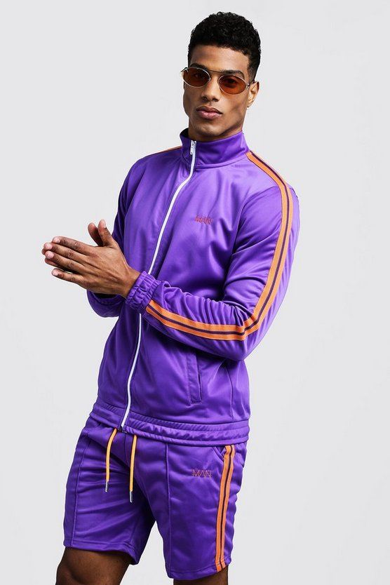 Mens Purple Tricot MAN Funnel Neck Short Tracksuit With Tape