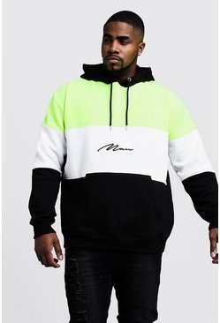 Mens Black Big & Tall Neon Colour Block MAN Hoodie