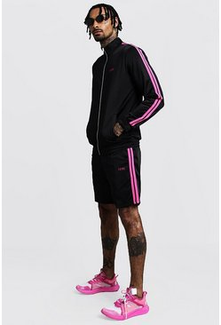 Mens Black Tricot MAN Funnel Neck Short Tracksuit With Tape