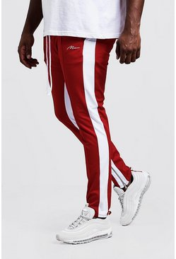 Big & Tall - Jogging skinny en maille à empiècement latéral MAN, Rouge, Homme