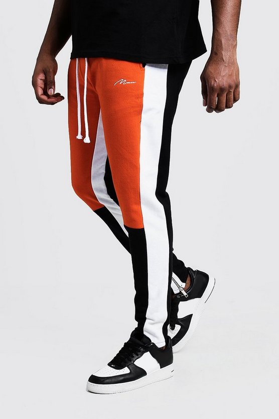Mens Orange Big & Tall Skinny Fit MAN Colour Block Joggers
