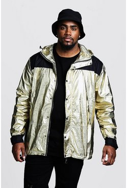 Mens Gold Big & Tall Metallic Hooded Windbreaker