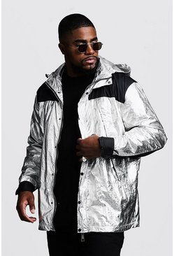 Mens Silver Big & Tall Metallic Hooded Wind Breaker