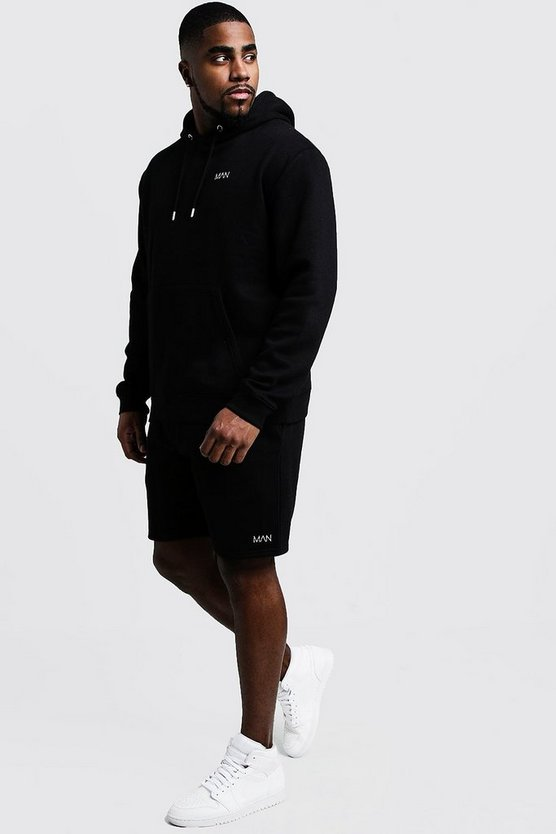 Mens Black Big and Tall MAN Dash Hooded Short Tracksuit
