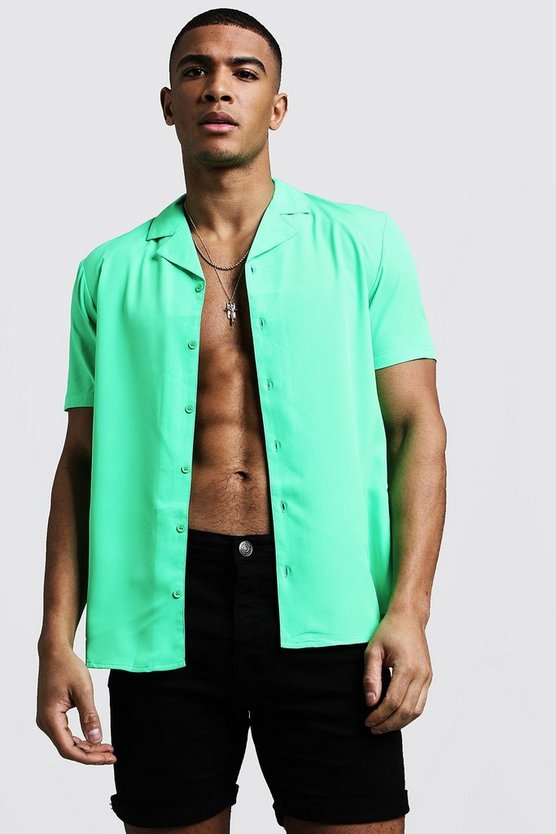 Viscose Short Sleeved Revere Shirt in Neon