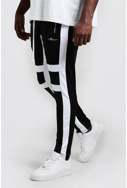 Mens Black Big & Tall Skinny Fit MAN Panelled Joggers