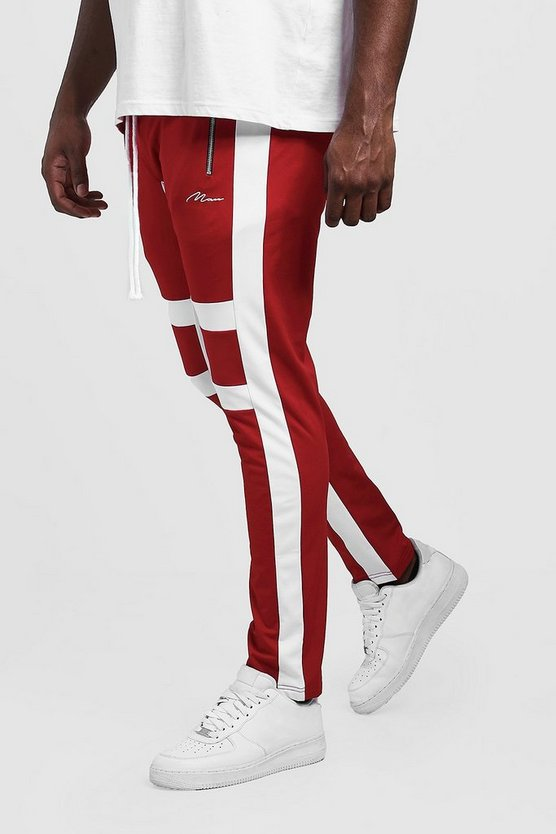 Mens Red Big & Tall Skinny Fit MAN Panelled Joggers