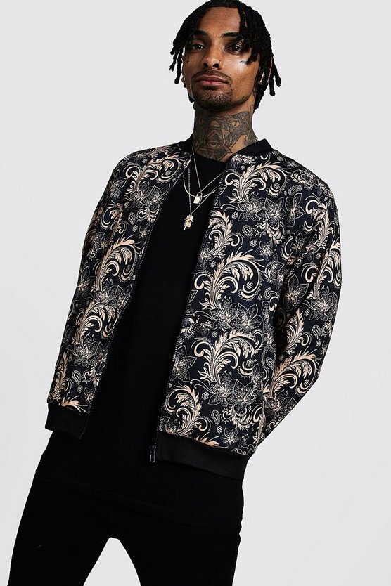 Mens Gold Baroque Print Detail Bomber Jacket
