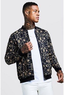 Mens Gold Chain Detail Print Smart Bomber Jacket