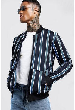 Mens Cobalt Stripe Detail Zip Through Bomber Jacket