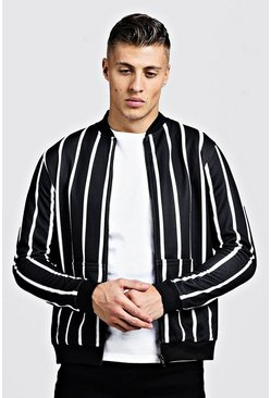 Mens Black Fine Stripe Smart Bomber Jacket