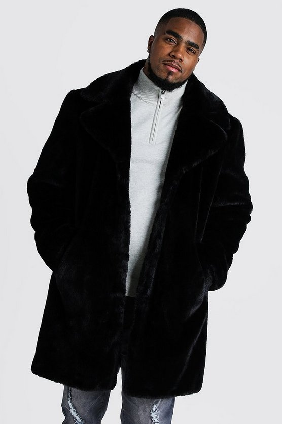Mens Black Big & Tall Faux Fur Overcoat