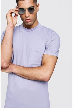 Mens Lilac Muscle Fit With Extended Neck