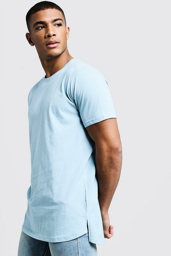 Mens Pale blue Longline Stepped Curved Hem T-Shirt