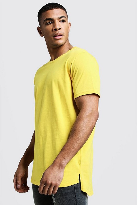 Mens Yellow Longline Stepped Curved Hem T-Shirt