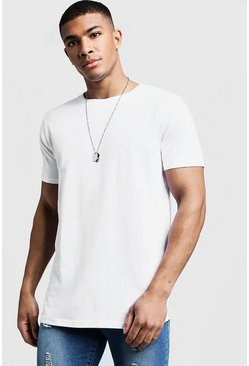 Mens White Longline Stepped Curved Hem T-Shirt