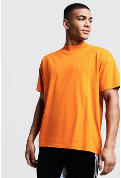 Mens Orange Loose Fit T-Shirt With Extended Neck
