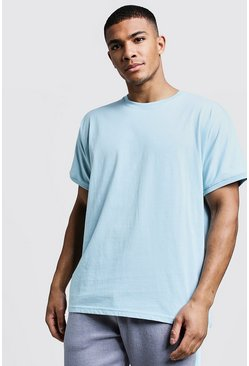 Mens Pale blue T-Shirt With Grown On Sleeve