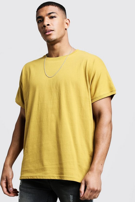 Mens Mustard T-Shirt With Grown On Sleeve
