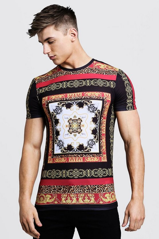 Mens Black Baroque Muscle Fit T-Shirt