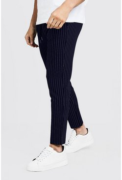 Mens Navy Darted Pinstripe Smart Jogger Pants