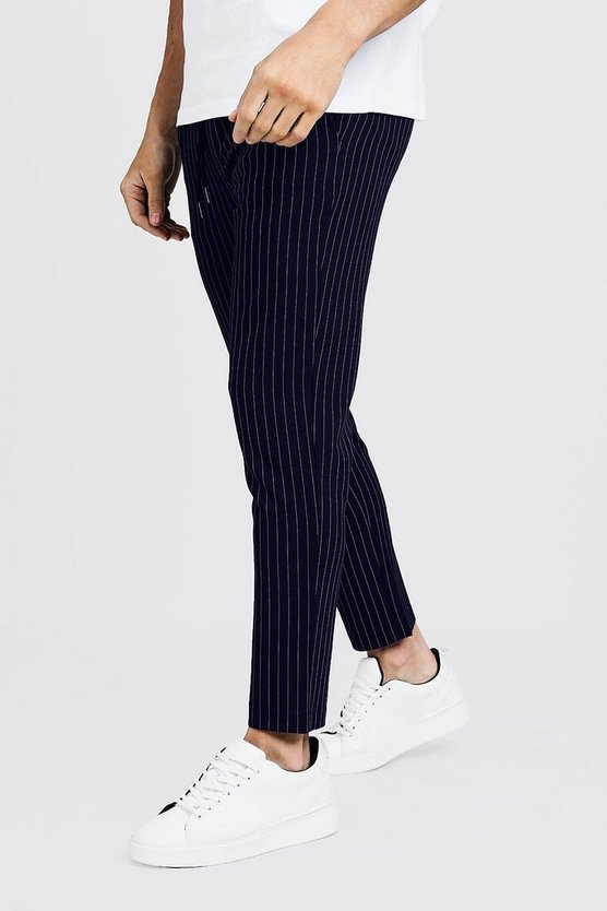 Mens Navy Darted Pinstripe Smart Jogger Trouser