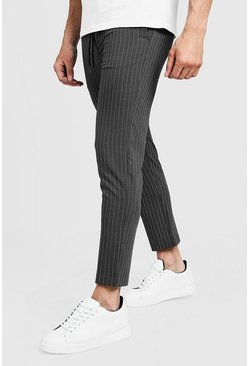 Mens Grey Darted Pinstripe Smart Jogger Pants