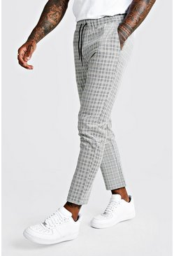Mens Black Summer Windowpane Check Smart Jogger Pants