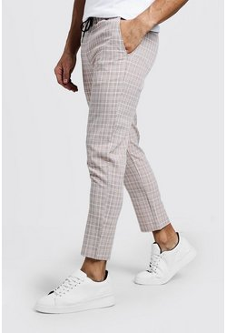 Mens Ecru Summer Windowpane Check Smart Jogger Trouser