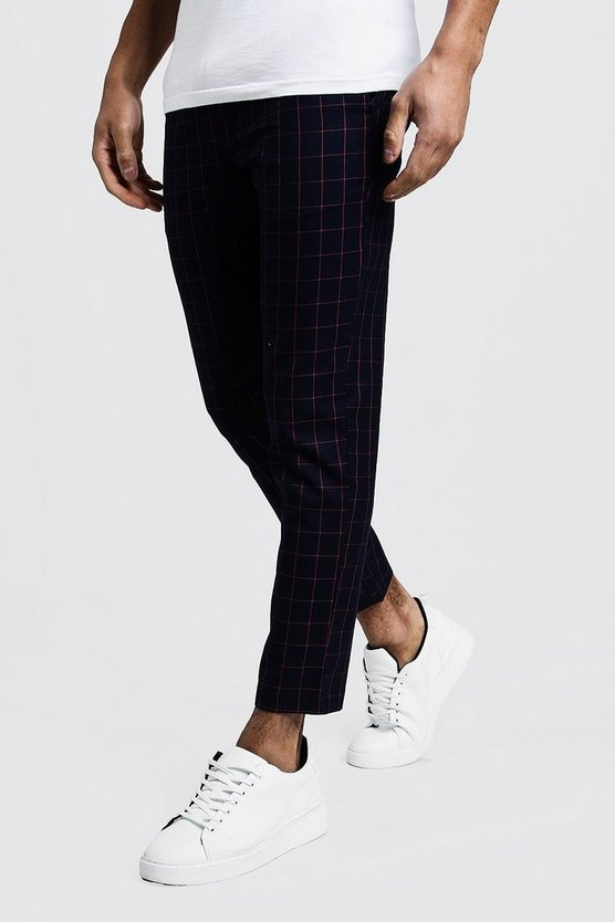Mens Navy Windowpane Check Smart Cropped Jogger