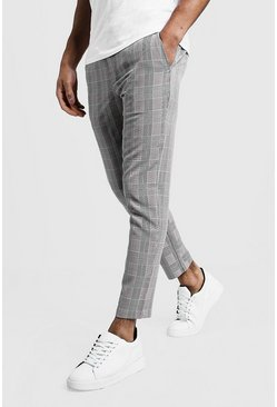 Mens Black Check Smart Jogger Pants