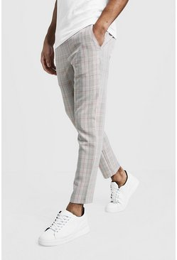Mens Stone Over Check Smart Jogger Trouser