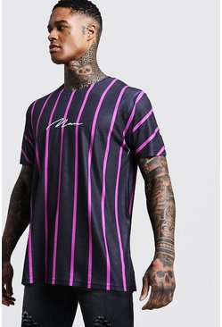 Mens Pink Man Signature Oversized Neon Stripe T-Shirt