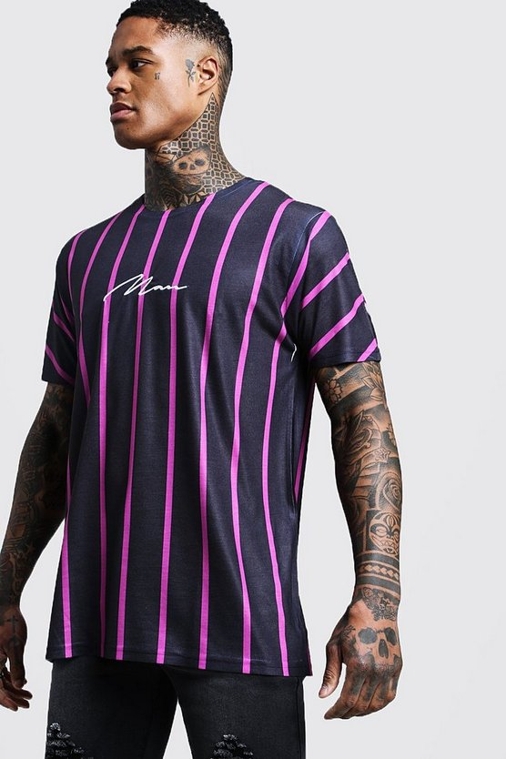 Man Signature Oversized Neon Stripe T-Shirt