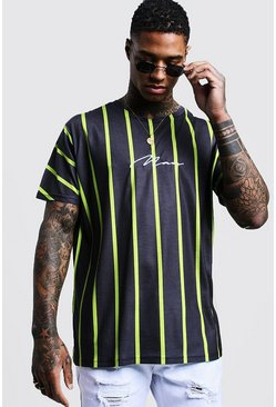 Mens Lime Man Signature Oversized Neon Stripe T-Shirt