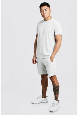 Ensemble short et t-shirt en velours signature Man, Gris, Homme